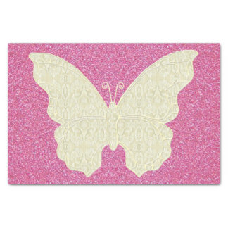 """Lace Butterfly On Pink Glitter Tissue Paper 10"""" X 15"""" Tissue Paper"""
