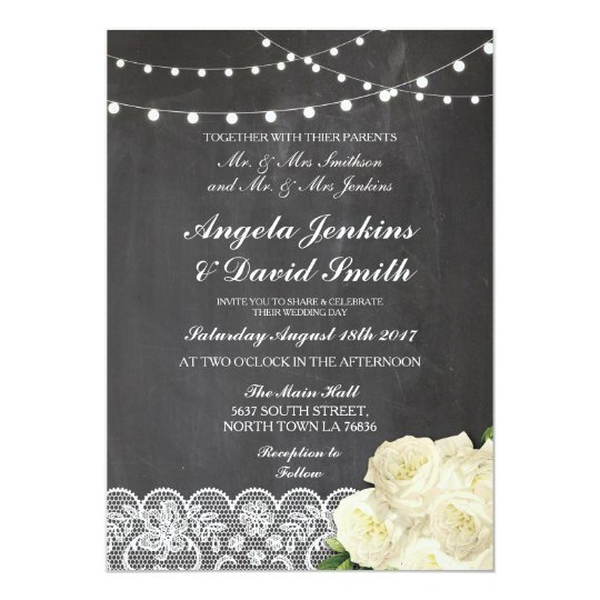 Lace Chalk Wedding Rustic Rose Light Invitations