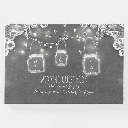 Lace Chalkboard Mason Jar Lights Rustic Wedding Guest