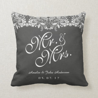 Lace Chalkboard Mr. and Mrs. Wedding Pillow
