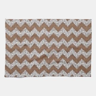 Lace Chevrons Against Rustic Burlap - Shabby Chic Kitchen Towel