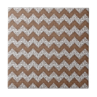Lace Chevrons Against Rustic Burlap - Shabby Chic Small Square Tile