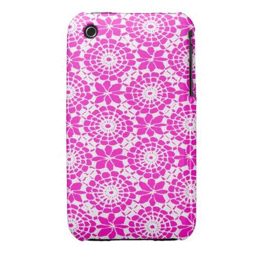 Lace Circles iPhone 3 Case Shocking Pink