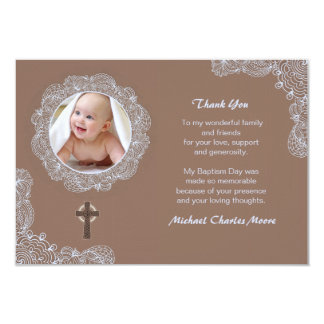 Lace Circular Photo Thank You Card 9 Cm X 13 Cm Invitation Card