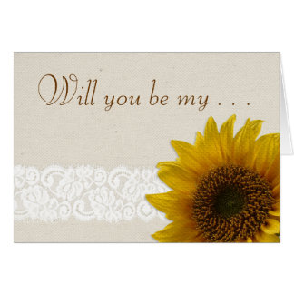 Lace Country Rustic Sunflower Flower Girl Request Card