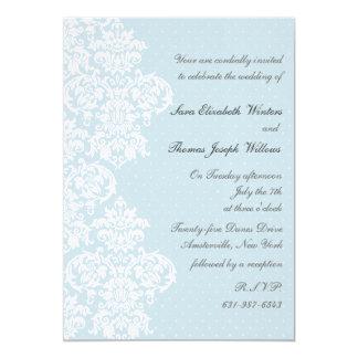 Lace Cover Blue Wedding Invitation