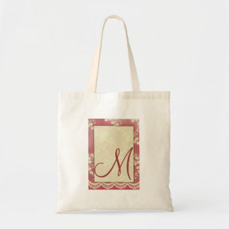 Lace, cream and rose canvas bag