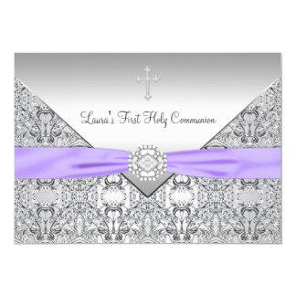 Lace Cross Girls Purple First Communion 13 Cm X 18 Cm Invitation Card