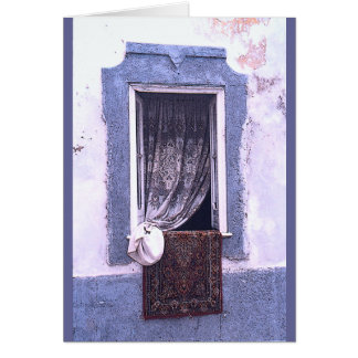 """""""LACE CURTAIN THROUGH WINDOW"""" NOTE CARD"""