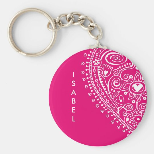 Lace Custom Name Keychain