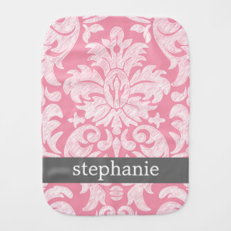 lace Damask Pattern Pink and Gray Baby Burp Cloths