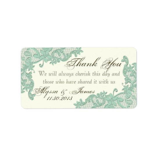 Lace Design Thank You Label