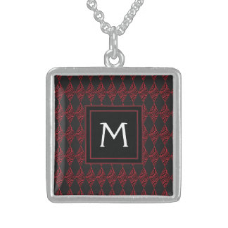 Lace Diamond Argyle Pattern With Initial Sterling Silver Necklace