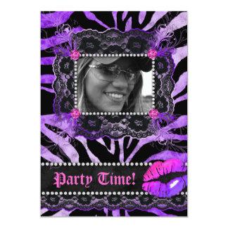 Lace Diamonds Birthday Party Zebra Purple Lips 13 Cm X 18 Cm Invitation Card