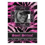 Lace Diamonds Sweet 16 Birthday Party Zebra Pink Custom Invitation