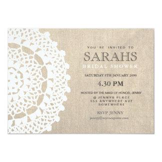 "Lace Doily & Burlap Bridal Shower Party Invite 4.5"" X 6.25"" Invitation Card"