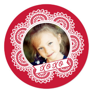 Lace Doily Photo Valentine's Card 13 Cm X 13 Cm Square Invitation Card