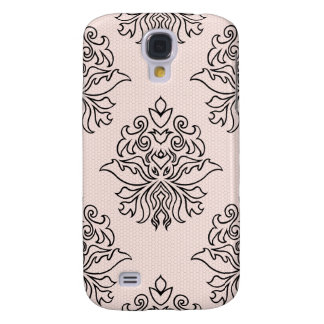 Lace Effect Ornate Damask - Black & Pink Galaxy S4 Case