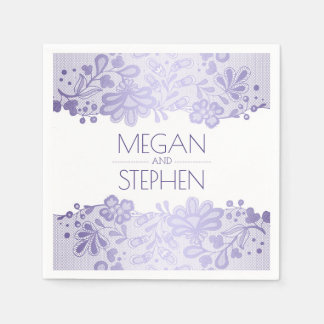 Lace Elegant Lavender Purple Wedding Paper Napkins