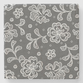 Lace fabric pattern 1 stone beverage coaster