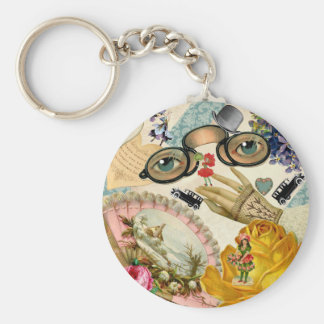 Lace Fan Spectacles and Flowers Key Chain
