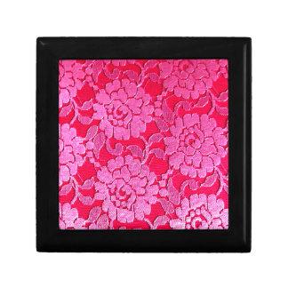 Lace Flower Red Pink Elegant Bold Pattern Trinket Box