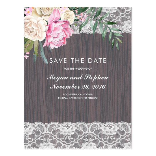 Lace Flowers and Wood Vintage Save the Date