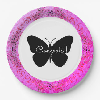 Lace-Fresco_Fushia_ Template-Butterfly_Congrats Paper Plate
