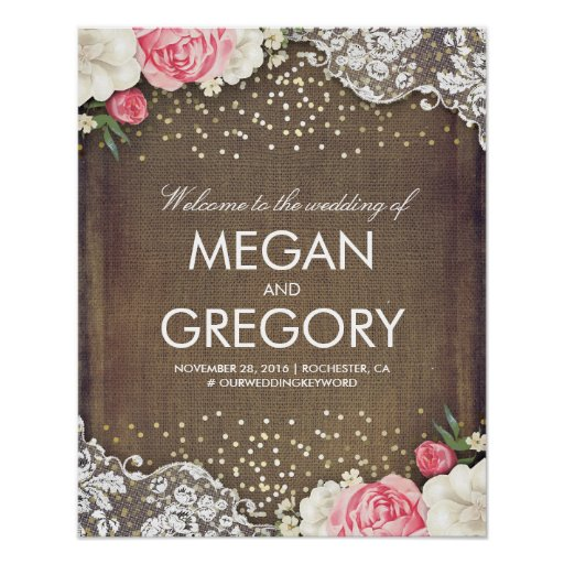 Lace Gold Burlap and Flowers Wedding Welcome Sign