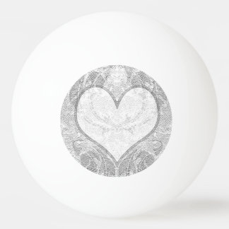 Lace Heart Add Text Ping Pong Ball
