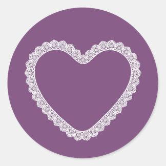 Lace Heart Frame Purple Background V09 Round Sticker