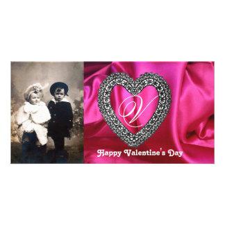 LACE HEART MONOGRAM SILK FUCHSIA CLOTH ,Pink Black Personalised Photo Card