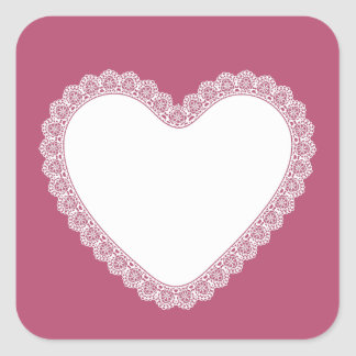 Lace Heart Pink Background V07 Square Sticker