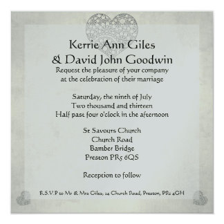 Lace Heart Wedding Invitations in Ivory