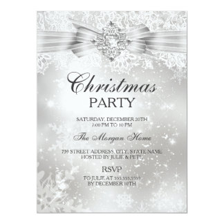 """Lace & Jewel Bow Silver Christmas Holiday Invite 6.5"""" X 8.75"""" Invitation Card"""