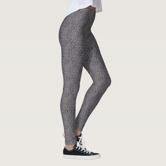 Lace Look Grey Rabbit Pattern Women's Leggings