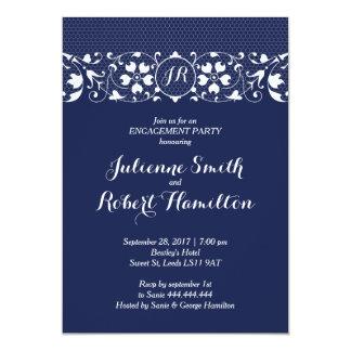 Lace Love | Monogram Engagement Party Invitation