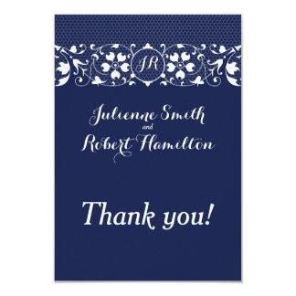 Lace Love   Monogram Wedding Thank You 9 Cm X 13 Cm Invitation Card