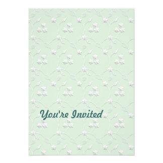 Lace Lt Green & White Invitation