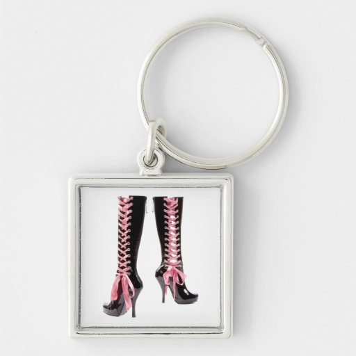 Lace Me Up Silver-Colored Square Key Ring