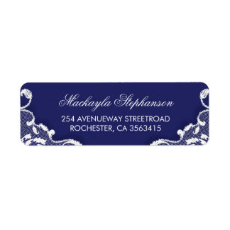 Lace Navy Vintage Wedding Return Address Label