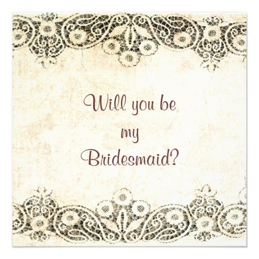 lace on burlap Will you be my bridesmaid Personalized Invitations