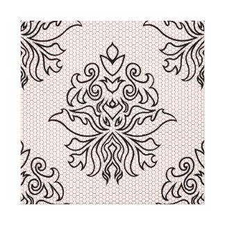 Lace Ornate Damask - Black & Pink Canvas Print