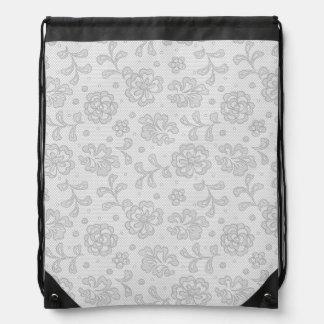 Lace pattern, flower vintage 1 drawstring bag