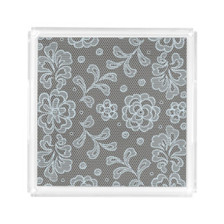 Lace pattern, flower vintage 6 acrylic tray