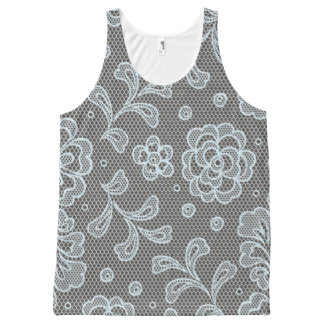 Lace pattern, flower vintage 6 All-Over print tank top