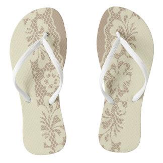 Lace pattern, flower vintage 7 flip flops