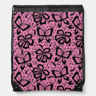 lace pattern with butterflies drawstring bag