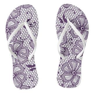 Lace pattern with butterflies flip flops