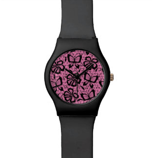 lace pattern with butterflies watch